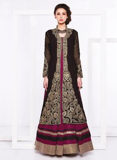 Buy Black N Purple Jacket Floor Length Anarkali online from the wide collection of Salwar Kameez. This Black, Purple colored Salwar Kameez in Faux Georgette fabric goes well with any occasion. Shop online Designer Salwar Kameez from cbazaar at the lowest price.