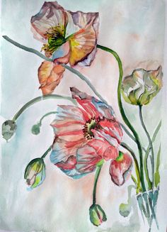 Poppies Still life Original watercolor by PaintingByAHeart on Etsy
