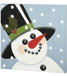 Snowman Painted Canvas - instructions and supply list Christmas Paintings On Canvas, Canvas Paintings, Snowmen Paintings, Christmas Canvas, Kids Christmas, Christmas Crafts, Lighted Canvas, Painted Canvas, Canvas Door Hanger