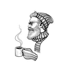Art Print: Vector Black and White Bearded Man with Cup Illustration by Julia Wal. Beard Logo, Beard Tattoo, Beard Art, Watercolor Girl, Beard Humor, Man Sketch, Illustration Art Drawing, The Draw, Black And White Illustration