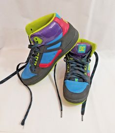 los angeles 28f25 57f1a NEON DG Retro Leather multi color pink blue WOMENS SKATE Style SHOES SIZE  10  DG  Skater