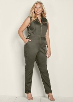 Olive Green Plus Size Zip Front Jumpsuit With Pockets. Front pockets, functional front zip, zippers at leg openings and button tabs at waist put a utility spin to this flattering jumpsuit. Venus Swimwear, Mix And Match Bikini, Plus Size Jumpsuit, Casual Jumpsuit, Jumpsuits For Women, Fashion Jumpsuits, Dress And Heels, Latest Fashion For Women, Plus Size Women
