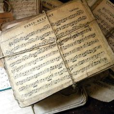 Vintage French sheet music--tie twine around a couple of pages