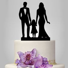 family Wedding Cake Topper, Bride and Groom with little girl silhouette cake topper, acrylic cake topper black color, funny and unique