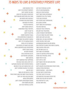 75 Ways to Live a Positively Present Life (download the PDF here: http://positivelypresent.typepad.com//files/75-ways-to-live-a-positively-present-life.pdf)