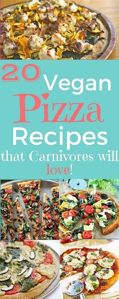 20 Vegan Pizza Recipes that even Carnivores will love! Gluten-free options too! on VeganFamilyRecipes.com #healthy #vegetarian #plant-based #faux meat #recipe