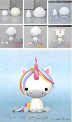 Clay unicorn but could use to make a fondant unicorn Baby Unicorn Tutorial More Baby Unicorn Tutorial - omg this is the cutest thing ever! photo tutorial - make a rainbow unicorn from fimo / polymer clay / flower paste / icing step by step guide for sitti Polymer Clay Projects, Polymer Clay Creations, Diy Clay, Diy And Crafts, Crafts For Kids, Simple Crafts, Felt Crafts, Fondant Tutorial, Fondant Animals Tutorial