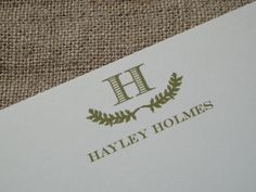 Personalized Custom Stationery Stationary - Laurel Wreath. $15.00, via Etsy. LivvyPress