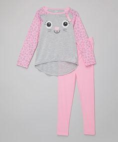 Look at this #zulilyfind! Gray & Pink Kitty Pajama Set - Infant, Toddler & Girls #zulilyfinds