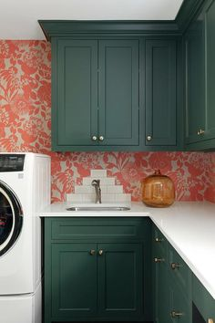 Green Laundry Room Cabinets with Orange Wallpaper - Transitional - Laundry Room Laundry Room Cabinets, Laundry Room Organization, Laundry Room Design, Kitchen Design, Kitchen Cabinets, Shaker Cabinets, Laundry Rooms, Laundry Cupboard, Laundry Storage