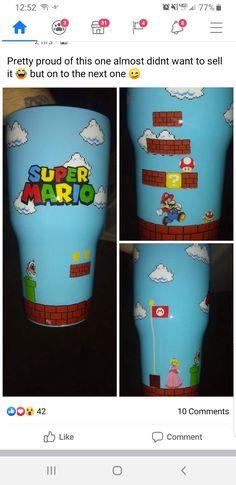 Tumbler Cups, Tumbler Stuff, Cup Crafts, Yeti Cup, Custom Tumblers, Resin Crafts, Craft Fairs, Super Mario, Cow