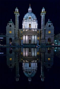 Karlskirche, Vienna at night (by SBA73)