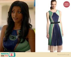 Divya's blue and green pleated colorblock dress on Royal Pains. Outfit Details: http://wornontv.net/36760/ #RoyalPains