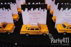 New York Theme Party Taxi Seating Cards #newyearseve