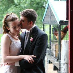 Awesome rustic wedding. Barn location ....complete with roosters.