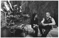 Tim Burton and Vincent Price on the set of 'Edward Scissorhands'.