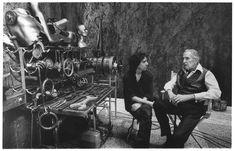 Tim Burton and Vincent Price on the set of 'Edward Scissorhands'.