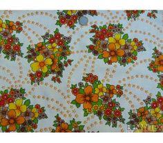 """Coton """"Vintage"""" Fleurs Jaune Marron Orange fond Ivoire"""