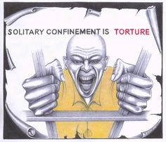 """""""Many prisoners in solitary confinement pour their pain into their art. This drawing makes it unquestionably clear that the artist is strongly opposed. – Art: Michael David Russell, PBSP SHU P. Box Crescent City CA Political Cartoons, Funny Cartoons, Crescent City Ca, Pelican Bay, Human Rights Issues, Solitary Confinement, Unity In Diversity, And Justice For All, Life Goes On"""