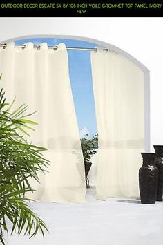 Ivory Escape Velcro Tab Top Indoor Outdoor Curtain Panel 84 Long