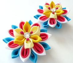 Kanzashi  Fabric Flowers Set of 2 hair clips Pink white by JuLVa, $13.50