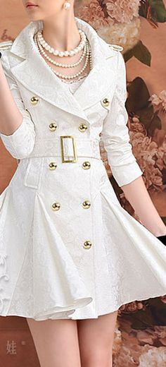 SPRING WHITE JACQUARD DOUBLE BREASTED COAT DRESS