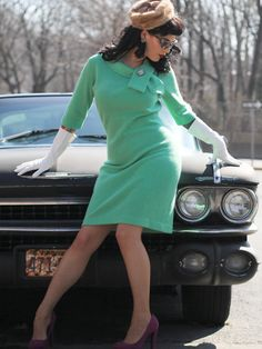 1960s Vintage Mint Green Sweater Dress SZ L by SpeakVintageDC, $98.00