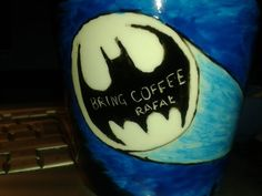 Bring coffee I Cup, Bat Signal, Superhero Logos, Bring It On, Coffee, Handmade, Art, Mugs, Kaffee
