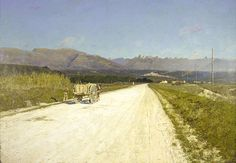 """""""Road to Nice,"""" William Lamb Picknell, 1896, oil on canvas, 6 5/16 x 10 11/16"""", Pennsylvania Academy of the Fine Arts."""