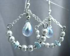 ELIXIR Earrings  aquamarine blue drops with silver by CraftyWings, $21.00