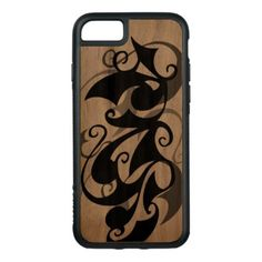 Wood Negative Shadow Swirl (iPhone 7) Carved iPhone 8/7 Case - wood gifts ideas diy cyo natural