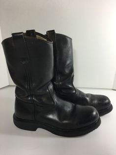 "Mens Size 6 5 E Red Wing Pecos Work Boots Black 2231 11"" Made in USA Steel Toe 