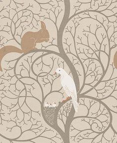Squirrel & Dove wallpaper by Sanderson