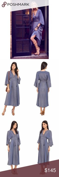 • Free People Modern Kimono Maxi dress size XS• The illuminating Modern Kimono Maxi Dress from Free People envelopes sophistication and a bohem spirit. Supersoft fabric reveals a decorative pattern throughout. Plunging V-neckline with self-tie tassels. Kimono style half sleeves. Ruched empire waist band. Concealed side zip closure. Straight hemline. Machine wash cold, line dry. 52% viscose, 48% rayon Free People Dresses Maxi