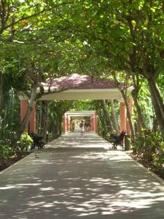 The covered walkway that goes from the Riu Tequila resort to the beach across the street. Playa del Carmen.