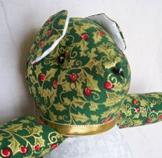 Gold Holly On Green Christmas Teddy Bear by ellemardesigns on Etsy, $12.00
