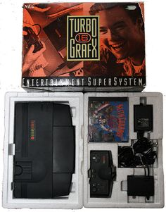 The TurboGrafx-16 Entertainment SuperSystem, known in Japan and France as the PC Engine is a home video game console jointly developed by Hudson Soft and NEC Home Electronics, released in Japan on October 30, 1987, in the United States on August 29, 1989, and in France on November 22, 1989. It was the first console released in the 16-bit era, albeit still utilizing an 8-bit CPU. Originally intended to compete with the Nintendo Entertainment System (NES).