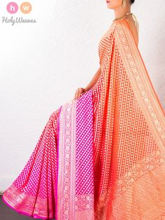 #Orange #Georgette #Khaddi #Cutwork #Brocade #Handwoven #Saree #HolyWeaves