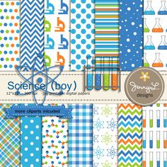 Science, Scientist Boy, Digital Paper, Molecule, Test Tube, Flask, Atom Clipart for Birthday, Baby Shower, Scrapbooking Paper Party Theme, by JennyLDesignsShop on Etsy https://www.etsy.com/listing/285892611/science-scientist-boy-digital-paper