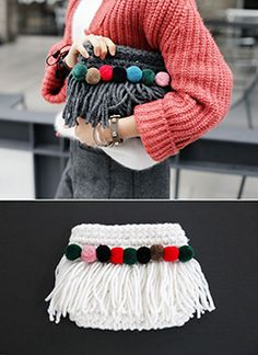 Bolsa em Crochê e Pom pom -  /    Crocheted Bag and Bobble -