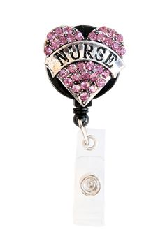 New Pink Bling Rhinestone Heart Nurse Banner Badge Reel Retractable ID Badge Holder Now @ SIZZLE CITY Shop - Come Visit Us Today!