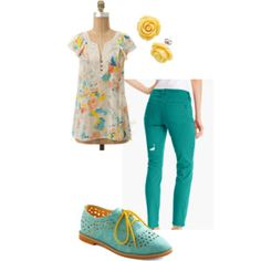 DMS member sunpoppy puts a vintage chic twist on this pair of teal IMNY skinny jeans