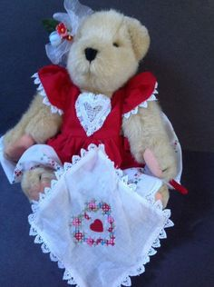 Plush Muffy Red Heart Dress Bear 1982 Vtg Collectible #ValentinesDay