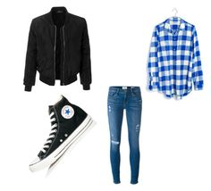"""Untitled #77"" by courtneystrader on Polyvore featuring LE3NO, Madewell, Frame and Converse"