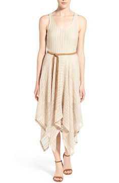 """Sanctuary 'Luna' Belted Crochet Midi Dress  A handkerchief hem gives fluttery movement to a summery dress shaped from a delicately pretty crochet knit. A braided belt with long fringe ends brings a bit of boho chic to the shaped A-line style. 49"""" to longest point. Slips on over head. Scooped neck. Sleeveless. Removable belt. Stretch lining. 74% polyester, 26% rayon. Hand wash cold, dry flat. By Sanctuary;"""