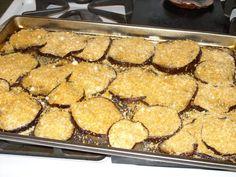 topping on eggplant Eggplant Chips, Crispy Eggplant, Eggplant Dishes, Baked Eggplant, Eggplant Parmesan, Parmesan Chips, Griddles, Griddle Pan, Vermont
