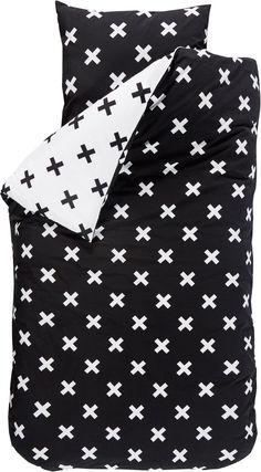 bol.com | BINK Bedding Cross dekbedovertrek Zwart/wit 1-persoons (140x220 cm + 1 sloop)