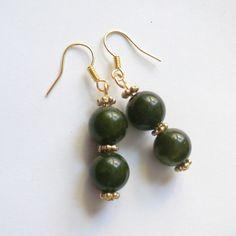 Jade - Jade-Ohrhänger in grün-gold - ein Designerstück von soschoen bei DaWanda