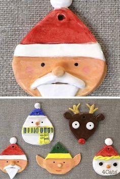 Seasonal clay ornaments by 4 Cats Art Studio-Acorn Alley