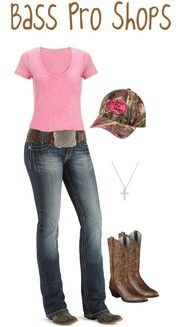 Bass Pro shop look for girl model~~country fashion~~Boots, camp hats and belts!